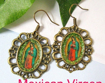 Our Lady of Guadalupe earrings mexico folk art catholic virgen mexicana virgin vintage style day of the dead