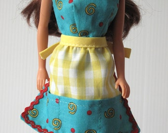 Barbie Clothes - Handmade  2 PIece Kitchen Dress Apron Set - Turquoise Spiral-Dot Print Dress and  Yellow Gingham Pocketed Apron