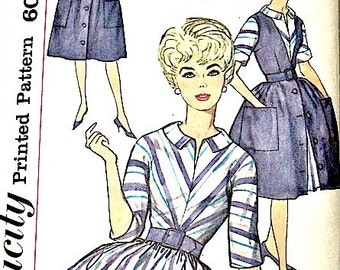 Vintage Sewing  1960s OnePiece Dress Pattern  Simplicity 4092 Fitted Bodice Full Skirt   Bust 32