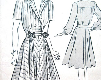 1940s Vintage Butterick 9389 One-Piece Dress Sewing Pattern  Bust 30