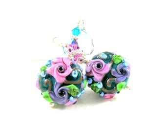 Teal Purple Pink Floral Earrings, Nature Jewelry, Lampwork Earrings, Colorful Flower Earrings, Cottage Chic Jewelry, Glass Earrings - Maia