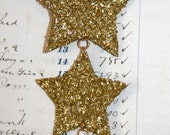 Genuine German Gold Glass Glitter Three Tiered Star Vintage Inspired Ornament