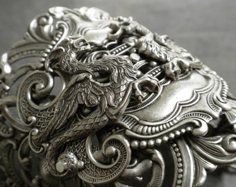 Silver Statement Cuff Dragon Bracelet Renaissance Jewelry