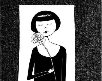 When the roses bloom again // Dramatic flapper black and white art print