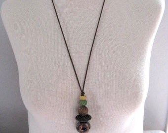 Stoneware, Brass and Glass Necklace. Accessories.