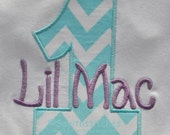 Aqua and white chevron striped personalized birthday shirt or bodysuit, Boy or girl, Ages 1-9, 1st birthday, 2nd birthday