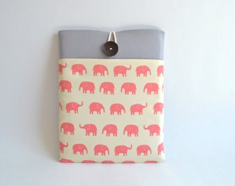 "14"" or 15.6"" Laptop Sleeve, Custom Size Padded Notebook Computer Case, 2016 MacBook Pro Sleeve Case with Pocket - Pink Elephants"