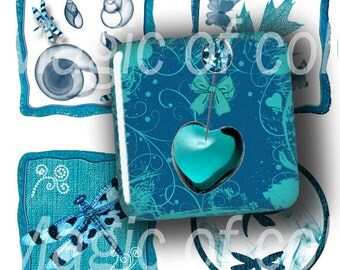 Turquoise Set - 63  1x1 Inch  JPG images - Digital  Collage Sheet