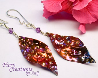 "Dangle Earrings ""Silk Worm Leaves""-  colorful Copper patina, soldered Sterling Silver elements, Crystal dangle, sterling ear wires, OOAK."