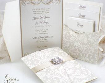 Gorgeous Antique Brooch Wedding Invitation | Vintage | Flourish | Buckle | Crystals | Elegant | Formal | Upscale | Luxury