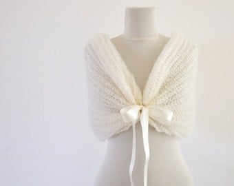 6 Ivory Wedding Shawls, Wedding Cover Up, Bridal Cover Up, Bridal Shawl, Ribbon Shawl, Wedding Scarf, Off White Mohair Wedding Wrap
