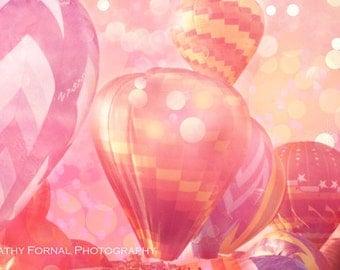 Hot Air Balloon Photos, Baby Girl Nursery Decor, Carnival Hot Air Balloons, Hot Pink Orange Yellow Balloons, Nursery Child Room Balloon Art