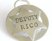 Silver Pet Tag - Sheriff Badge - Deputy Badge - Western Style Dog ID Tag - Personalized, Handmade