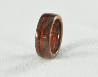 Wood Ring - Walnut and Bloodwood Wood Ring - Wedding Ring, Wedding Band, or Engagement Ring - All Natural - Handmade