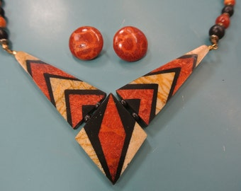 Rare vintage 1980s unused handcrafted coral choker necklace with earclips designed by Lee Sands