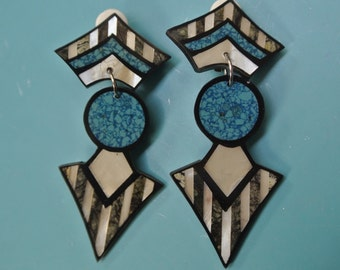 Rare beautiful collectible vintage 1980s unused earrings/clips designed by worldknown Hawaiian designer/artist Lee Sands