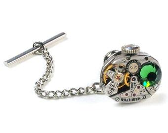 1950's Hamilton Watch n Erinite Crystal Steampunk Tie Tack Pin Chain Clip