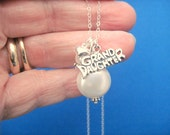 Sterling Silver Granddaughter Coin Pearl Necklace