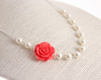Bridesmaid Jewelry Coral Red Rose and Pearl Wedding Necklace