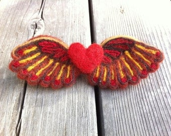 Felted Heart in Flight - red with rust and gold tones