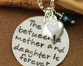 Hand Stamped Necklace  - Mother & Daughter Jewelry - Valentines Gift For Her- Sterling Silver Hand Stamped Jewelry
