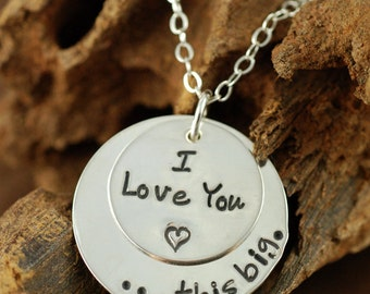 Hand Stamped Necklace, Mother Necklace, I love you this big, Personalized Jewelry, Heart Necklace