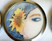 Sunflower Watercolor Compact hand painted illustration