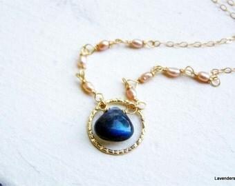 Labradorite Necklace , Gold Necklace , Wire wrapped pearl  Necklace ,  Gold Circle Necklace , Gemstone Jewelry