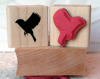 Sparrow Silhouette bird rubber stamp from oldislandstamps