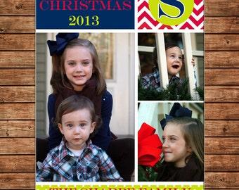 Photo Picture Christmas Holiday Card Monogram Chevron Polka Dot - Digital File