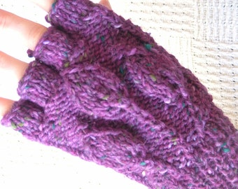 Purple Handknit Fingerless Gloves