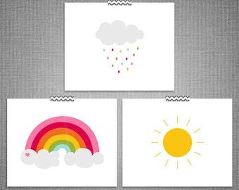Cloud Rainbow Sun 3pc DIY Printable Digital Wall Art 4x6 5x7 8x10 11x14