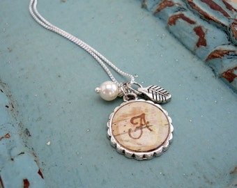 Personalized Bridesmaids Jewelry - Rustic Initial Monogram Letter Necklace - Birch Bark Natural Country Woodland Wedding Bridesmaid Gift