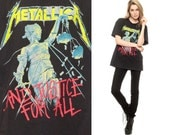 Vintage METALLICA Shirt 90s Tshirt And Justice For All Metal Band Tee Faded Black Cotton 1990s Vintage Oversize Extra Small Medium XS