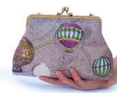 Hot Air Balloon Clutch Bag (purple) (Cosmetic Case, Makeup Pouch, Travel Bag, Bag Belt)