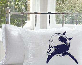 One (1) Navy Blue Bottle Nose Dolphin White Nautical Pillowcase pillow cover ocean sea