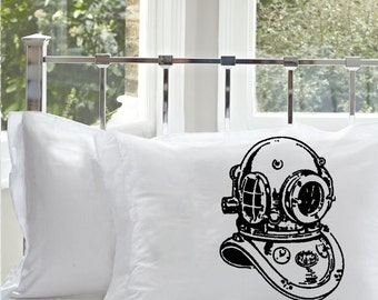 One (1) Black Old Vintage Deep Sea Diver Helmet Diver's Pillowcase pillow case cover bedding