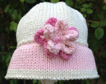 Hand Knit Baby Girl Sun Hat  / Sunhat Pink - Infant Hat - Hand Made - New Baby Gift - Shower Gift - Photo Op - Baby Girl Gift - Unique Gift