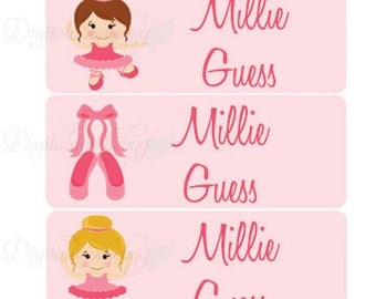 30 Custom ballerina School Labels | Personalized Waterproof Girl stickers | Kids name stickers No.N15