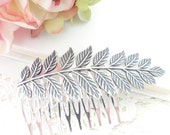 Sterling Silver Plated Leaf Branch Hair Comb - Ox Silver - Woodland Collection - Whimsical - Nature - Bridal