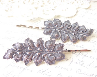 Sterling Silver Plated Leaf Hair Pin Set - Silver Leaf Bobby Pins - Woodland Leaf Hair Pin Set - Large Leaf Hair Pins - Wedding Hair - Bride