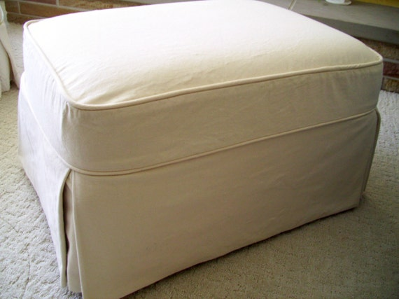 Ottoman Slipcover Classic Tailored Skirt Cream By