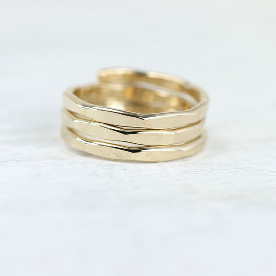 Coiled gold wrapped ring, yellow or rose gold fill, regular or mid-finger wear, hammered stacking ring