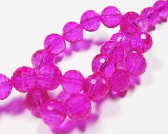 LOOSE Glass Beads - Glass Crystal Beads - 8mm Faceted Round - Bright Fuchsia (6 beads) - gla572