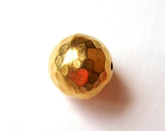 Two Thai Karen Hilltribe Gold plated Round Beads 15mm