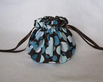 Jewelry Bag - Medium Size - Fabric Jewelry Pouch - Drawstring Tote - POLKA DOT PARADISE