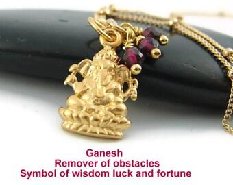 Ganesh Necklace | Garnet gemstones | Yoga Jewelry | Luck - Wealth,-Wisdom-Love Devotion | Ganesh Jewelry, Ganesh Necklace, Ganesh Charm,