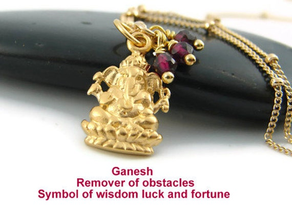 Ganesh Necklace- Garnet- Yoga Jewelry,  Gook Luck, Wealth, Wisdom-Love Devotion-Yoga Jewelry, Ganesh Jewelry, Ganesh Necklace, Ganesh Charm,