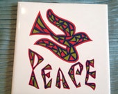 Vintage PEACE and DOVE Trivet Wall Hanging Stain Glass Design Kitchen Modern Mid Century Retro Design at A Vintage Revolution