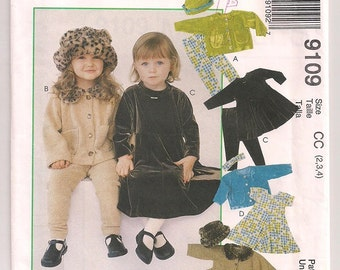 McCalls 9109 Toddler Girls jacket dress pants hat and headband Cozy Togs sewing pattern  2 3 4